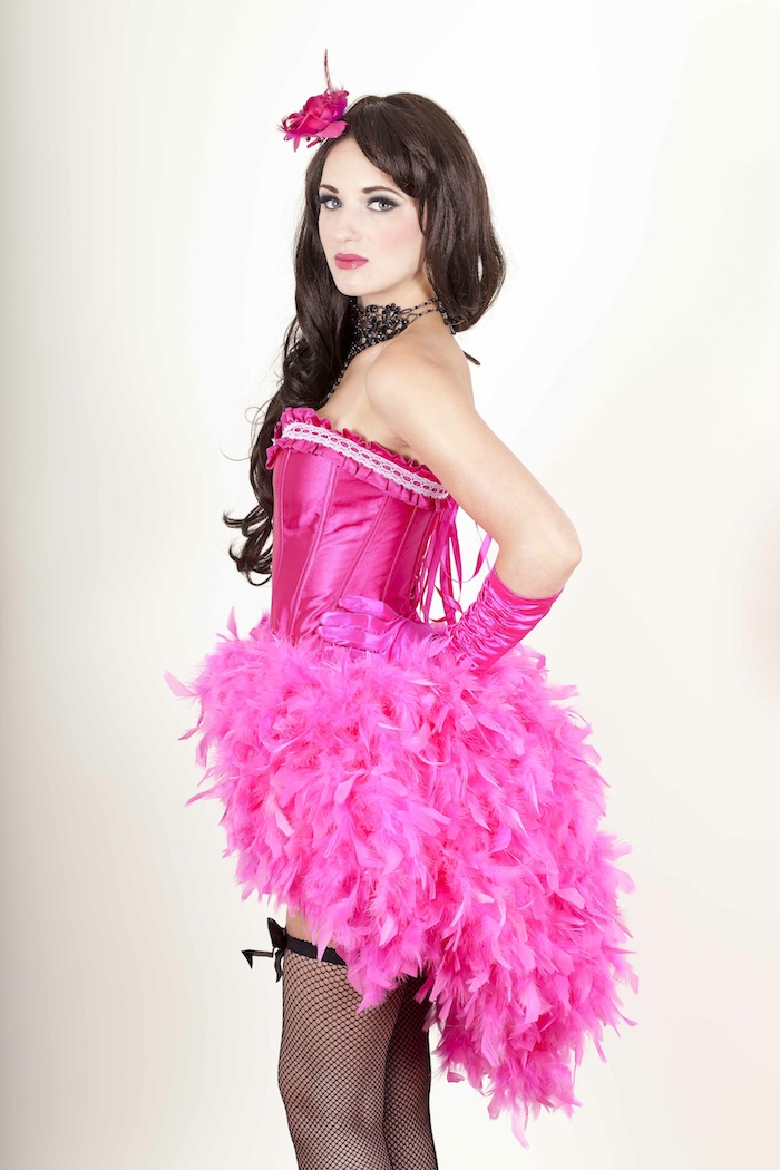 Big Fat Gypsy Wedding Costume Dress Burlesque Girly Feather Pink